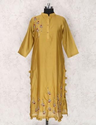 Mustard yellow hue cotton silk kurti