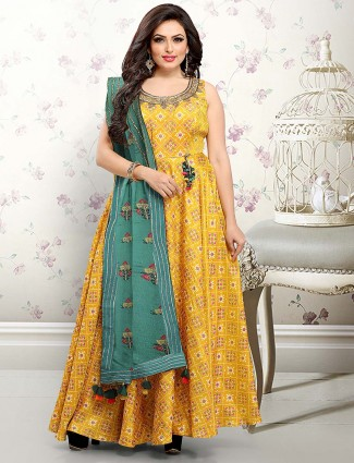 1addb01791a Mustard yellow hue festive floor length anarkali salwar suit