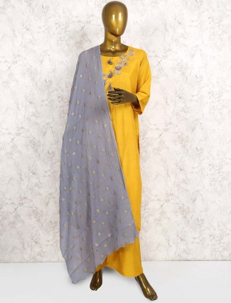 Mustard yellow hued cotton silk punjabi salwar suit
