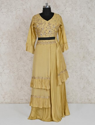 Mustard yellow indo western georgette lehenga suit