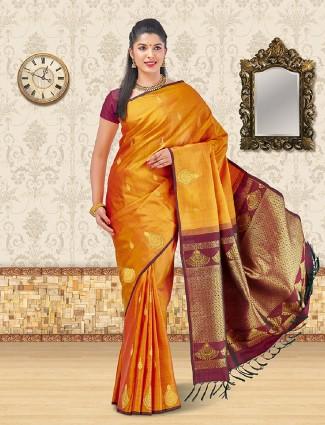 Mustard yellow kanchipuram silk saree