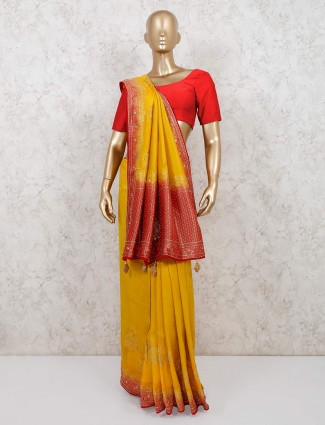 Mustard yellow muga silk wedding session saree