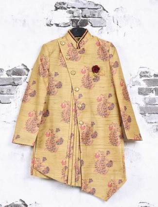 Mustard yellow party wear indo western