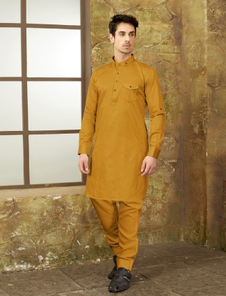 Mustard yellow pathani suit in cotton