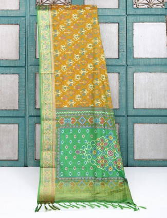 Mustard yellow patola printed cotton silk saree