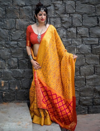 Mustard yellow patola silk saree