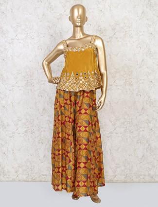 Mustard yellow peplum palazzo set in silk