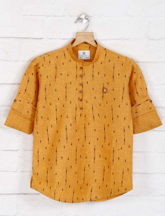 Mustard yellow printed cotton festive function kurta