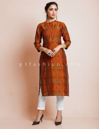 Mustard yellow printed cotton festive kurti