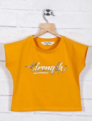 Mustard yellow printed cotton girls top