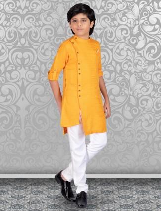 Mustard yellow printed cotton kurta suit