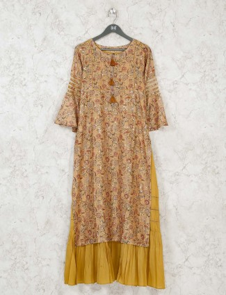 Mustard yellow printed cotton long kurti