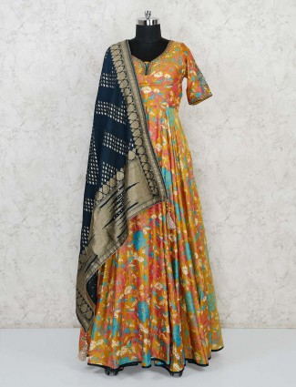 Mustard yellow printed floor length anarkali in cotton silk