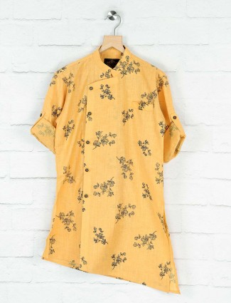 Mustard yellow printed pattern cotton kurta suit