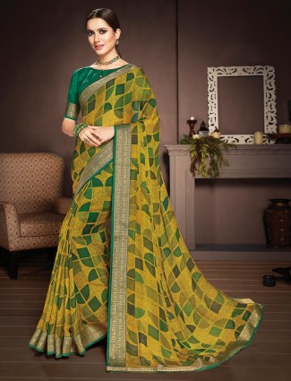 Mustard yellow printed saree in georgette