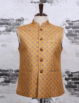 Mustard yellow printed waistcoat