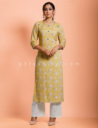 Mustard yellow printed with sequins work pant set