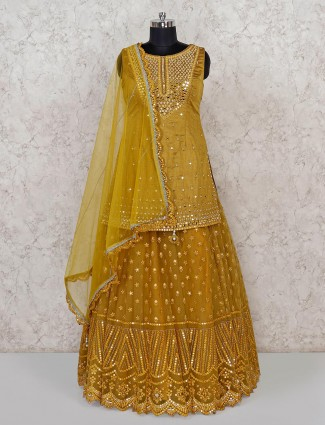 Mustard yellow raw silk designer lehenga choli