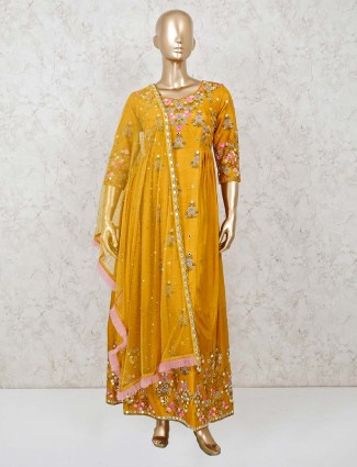 Mustard yellow raw silk wedding anarkali suit