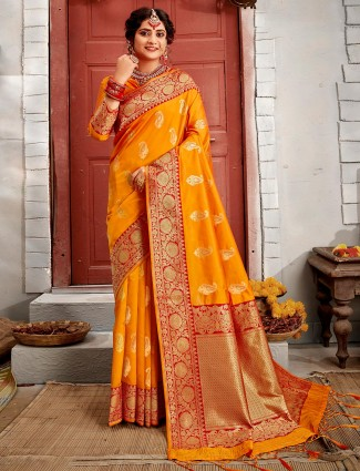 Mustard yellow reception session saree in banarasi silk