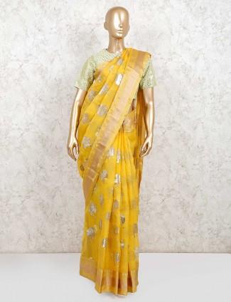 Mustard yellow saree design in organza tissue silk with readymade blouse