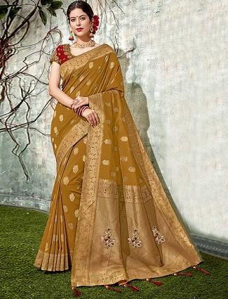 Mustard yellow semi silk classic festive wear saree