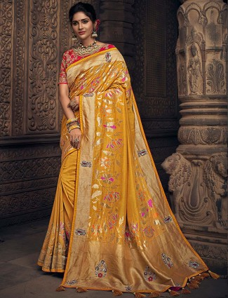 Mustard yellow semi silk festive function saree