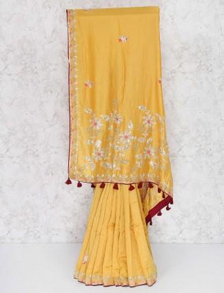 Mustard yellow semi silk saree for women