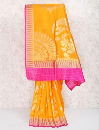 Mustard yellow semi silk sari