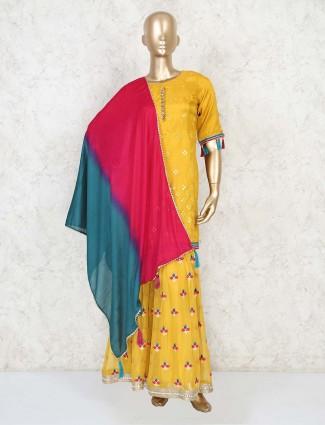 Mustard yellow sharara and kurti in cotton silk for wedding