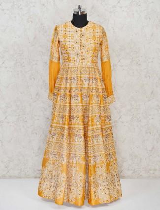 Mustard Yellow silk anarkali dress for wedding