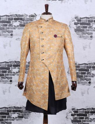 Mustard yellow silk fabric indo western