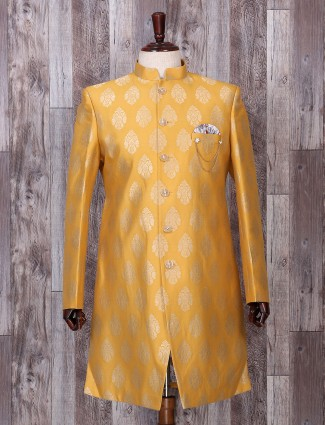 Mustard yellow silk wedding wear indo western