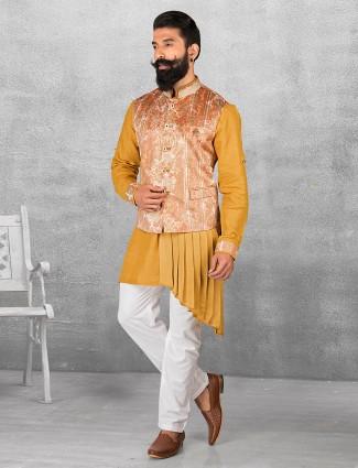 Mustard yellow silk weddingwear waistcoat set