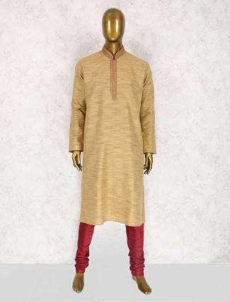 Mustard yellow solid kurta suit