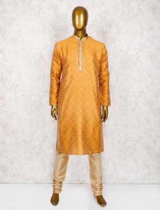 Rust orange solid kurta suit for wedding