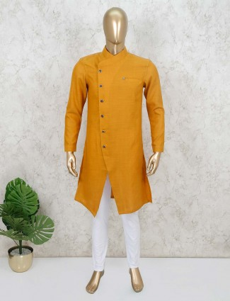 Mustard yellow solid mens kurta suit