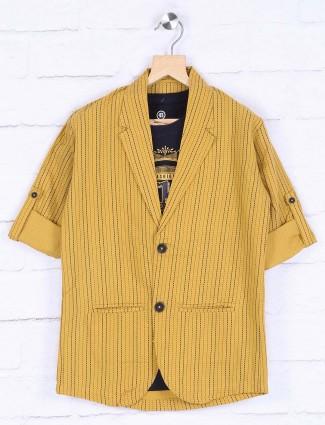 Mustard yellow stripe cotton blazer
