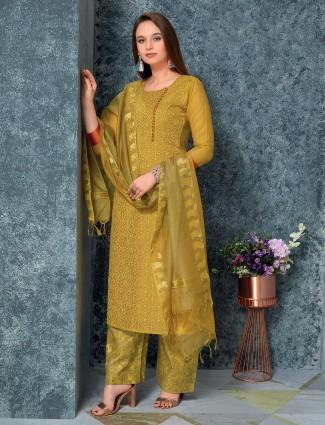 Mustard yellow traditional punjabi cotton salwar suit