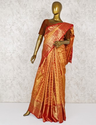 Mustard yellow wedding kanjivaram silk saree