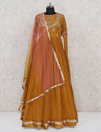 Mustard yellow wedding wear designer gown