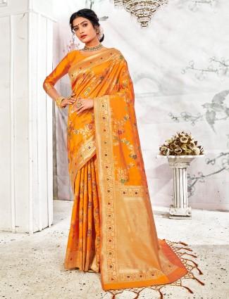 Mustard yellow wedding wear handloom banarasi silk saree