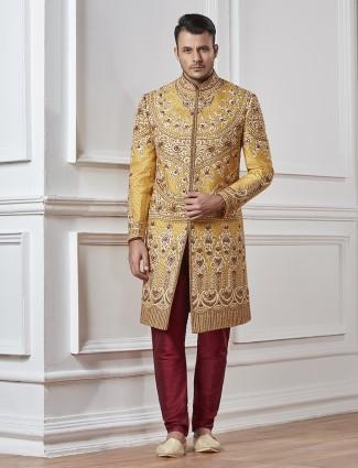 Mustard yellow wedding wear indo western