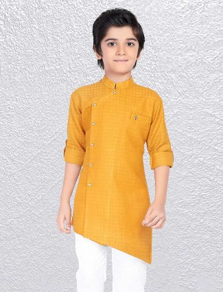 Mustard yellow zitter pattern short kurta