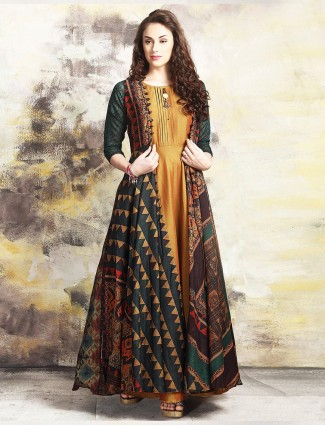 Musturd yellow chanderi silk jacket style suit