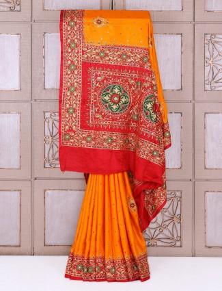 Musturd yellow silk fabric saree