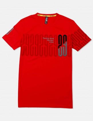 Mymera round neck printed red t-shirt