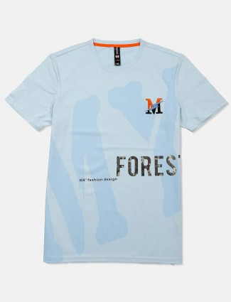 Mymera sky blue printed casual get together t-shirt