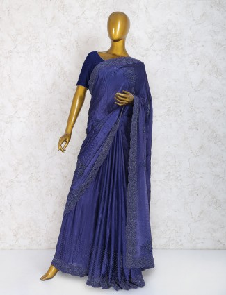 Naby blue saree in marble chiffon