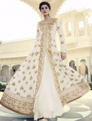 Nargis Fakhri designer party wear off white georgette semi stitich lehenga cum salwar suit